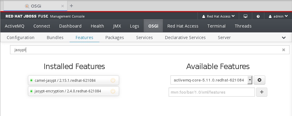 Checking for Jasypt features in Hawtio webconsole