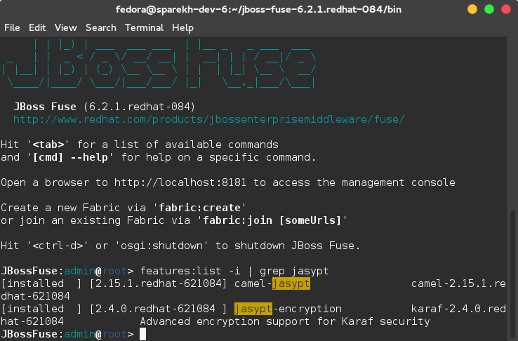 Checking for Jasypt features in Karaf shell